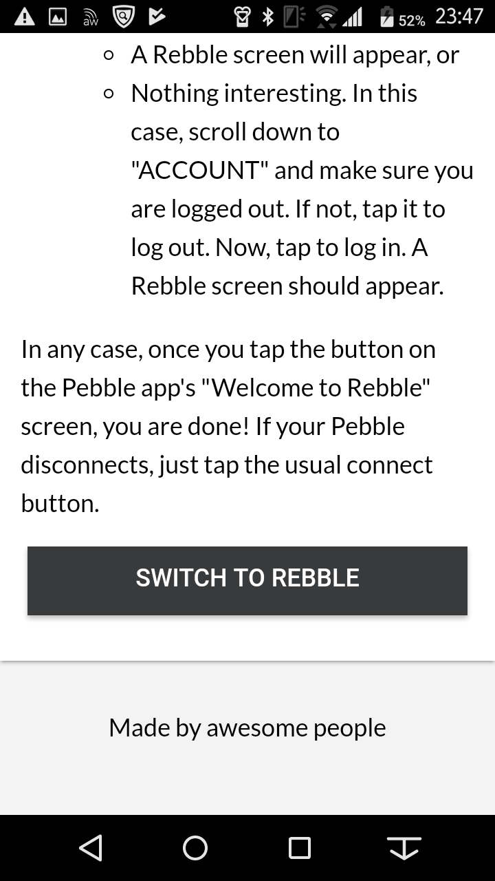 SWITCH TO REBBLEのボタンがある画面